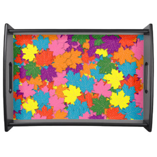 Colorful maple leaves pattern serving tray