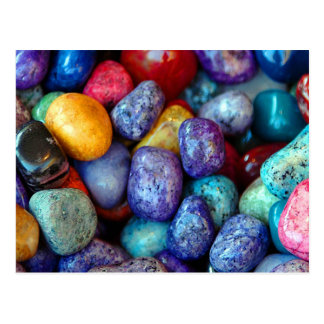 Colorful marble pebbles postcard