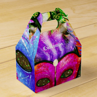 Colorful Mardi Gras Masks Gable Favor Box