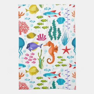 Colorful marine animals pattern kitchen towel