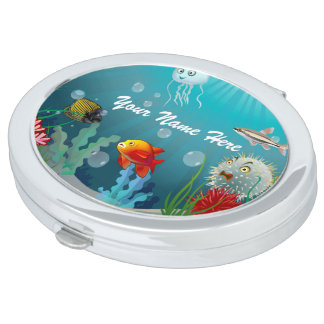 Colorful Marine Creatures Travel Mirror