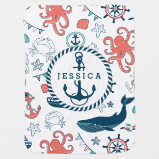 Colorful Marine Life & Nautical Boat Anchor Baby Blanket