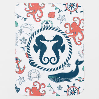 Colorful Marine Life & Nautical Seahorses Baby Blanket