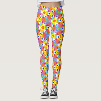 Colorful Markers Geometric Shapes Tiled Squares Leggings