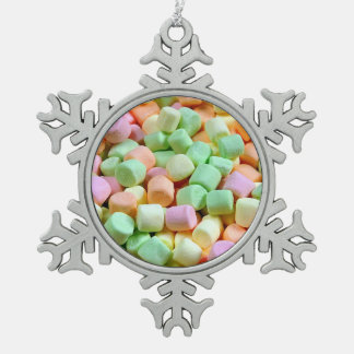 Colorful marshmallows pewter snowflake ornament