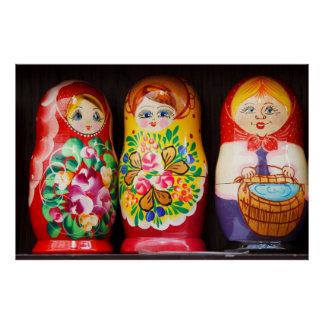 Colorful Matryoshka Dolls Poster