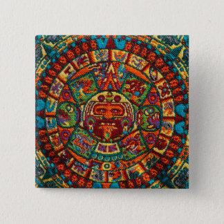 Colorful Mayan Calendar 2 Inch Square Button