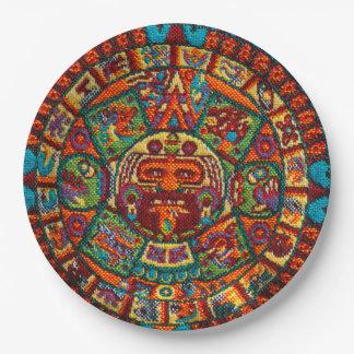 Colorful Mayan Calendar 9 Inch Paper Plate