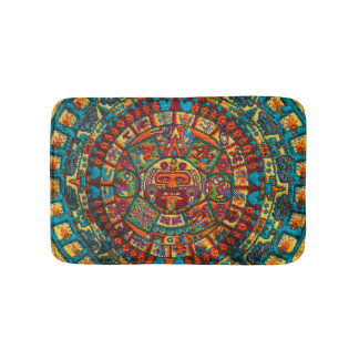 Colorful Mayan Calendar Bath Mat