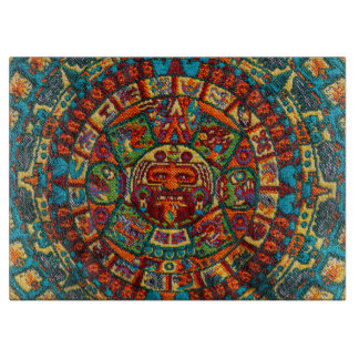 Colorful Mayan Calendar Cutting Board