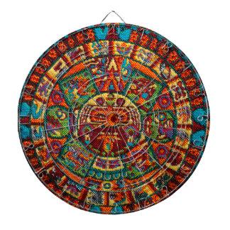 Colorful Mayan Calendar Dartboard With Darts