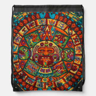 Colorful Mayan Calendar Drawstring Bag