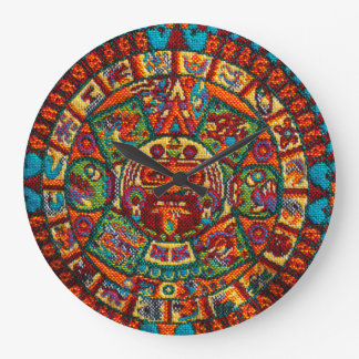 Colorful Mayan Calendar Large Clock