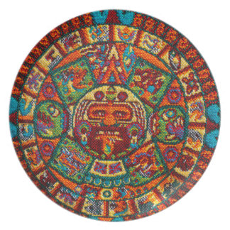 Colorful Mayan Calendar Plate