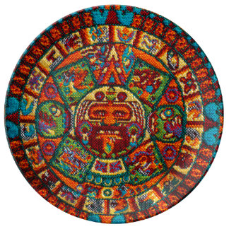 Colorful Mayan Calendar Porcelain Plates
