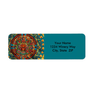 Colorful Mayan Calendar Return Address Label