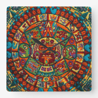 Colorful Mayan Calendar Square Wall Clock