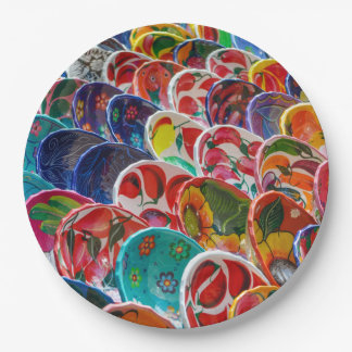 Colorful Mayan Mexican Bowls 9 Inch Paper Plate