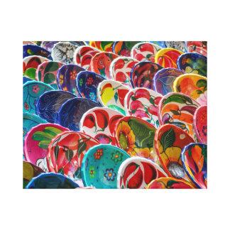 Colorful Mayan Mexican Bowls Canvas Print