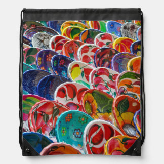 Colorful Mayan Mexican Bowls Drawstring Bag