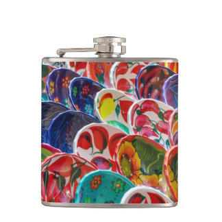 Colorful Mayan Mexican Bowls Hip Flask