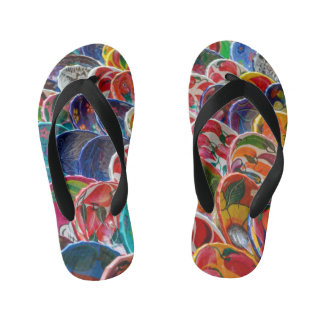 Colorful Mayan Mexican Bowls Kid's Flip Flops