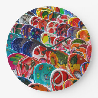 Colorful Mayan Mexican Bowls Large Clock