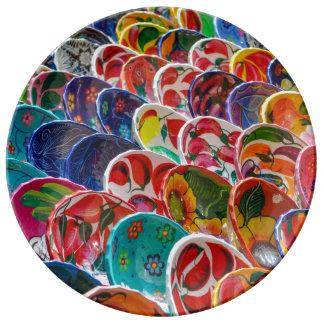 Colorful Mayan Mexican Bowls Porcelain Plates