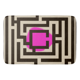 Colorful Maze Pattern on Custom Color Bathroom Mat