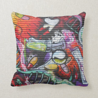 Colorful Medical Theme Graffiti Throw Pillow