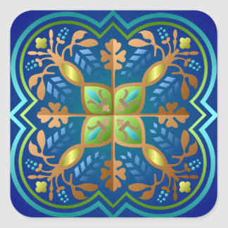 Colorful Medieval Pattern Square Sticker