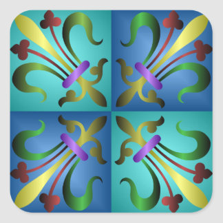 Colorful Medieval Sword Pattern Sticker