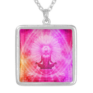 Colorful Meditation Spiritual Yoga Silver Plated Necklace