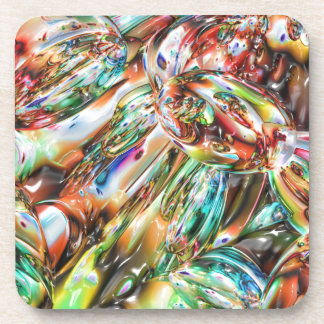 Colorful Melted Glass Beverage Coasters