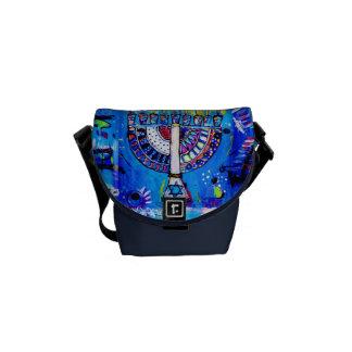 Colorful Menorah Messenger Bag
