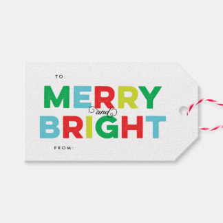 Colorful Merry and Bright Type Gift Tag