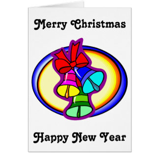 Colorful Merry Christmas Bells Greeting Card