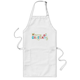 Colorful Merry Christmas Long Apron