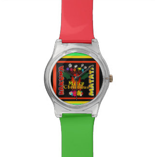 Colorful Merry Christmas pattern design art Wrist Watches