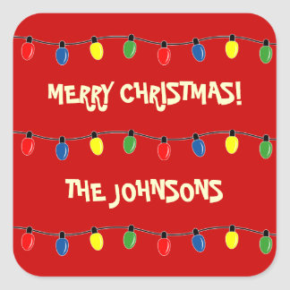 Colorful Merry Christmas tree lights gift tags