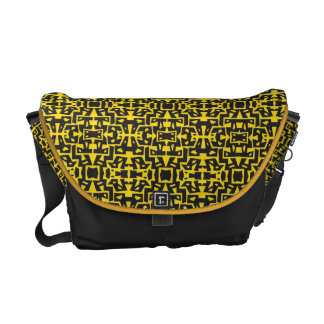 Colorful Messenger with Pattern 11 (Black-Yellow) Messenger Bag