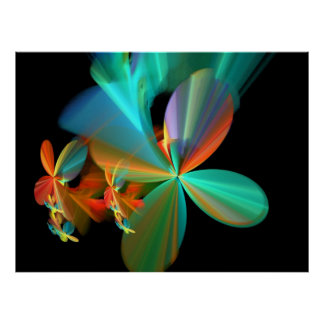 Colorful Metallic Flower Petals Poster