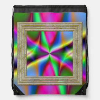 Colorful Metallic Fractal Lustre Drawstring Bag