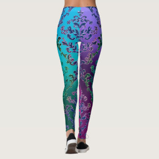 Colorful Metallic Lace Leggings
