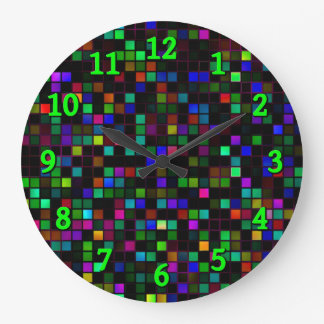 Colorful 'Meteor Shower' Squares Pattern Large Clock