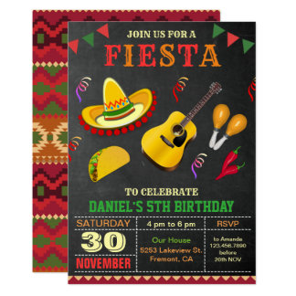 Colorful Mexican Fiesta Birthday Party Invitation