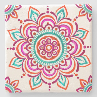 Colorful Mexican floral design coaster