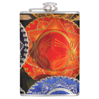 Colorful Mexican sombreros Hip Flask