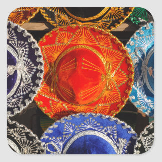 Colorful Mexican sombreros Square Sticker