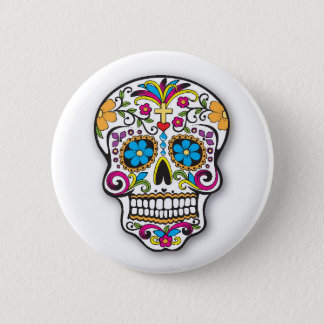 Colorful Mexican Sugar Skull Day of the Dead 2 Inch Round Button